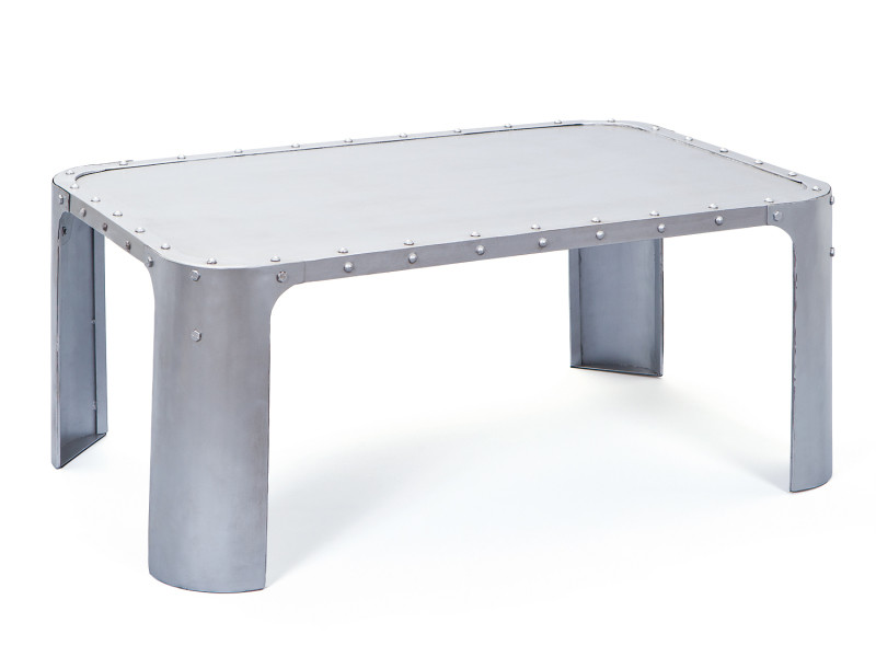 Table basse GORMUR Argentée Style industriel