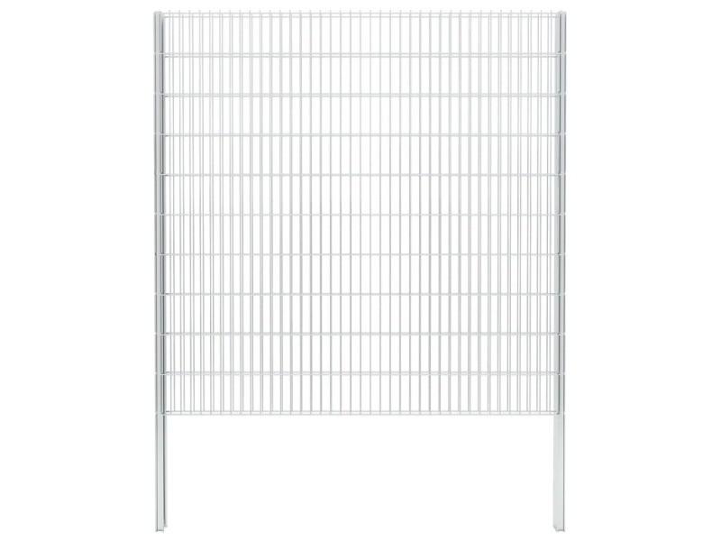 Vidaxl clôture gabion 2d acier galvanisé 2,008x2,03m 16m total argenté 274566