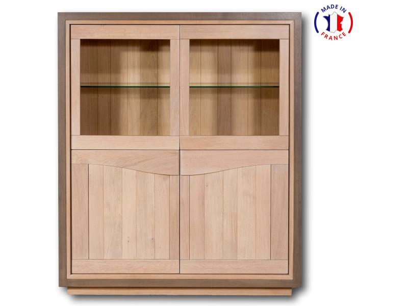 Vitrine 4 portes design en chêne massif chêne blanchi et cadre gris éléphant-100% made in france