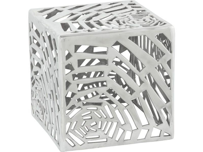 Table basse carrée design en aluminium toile