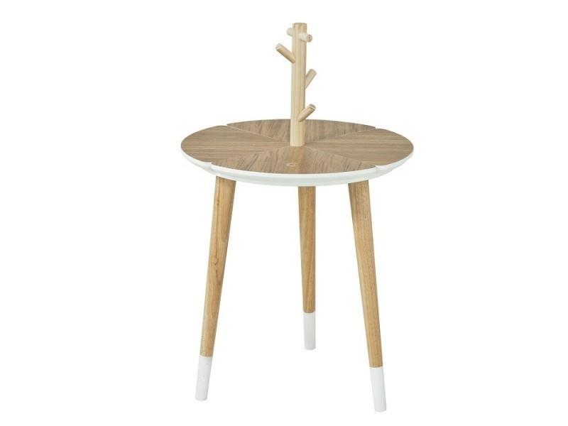 Table café design avec support à tasses table d'appoint ronde - 3 pieds - fbt38-wn fbt38-wn sobuy®