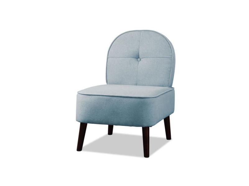Daisy fauteuil pieds bois - tissu bleu - l 52 x p 67 x h 76 cm