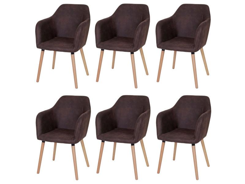 6x chaise de séjour / salle à manger malmö t381, style rétro des années 50 ~ tissu, vintage marron foncé