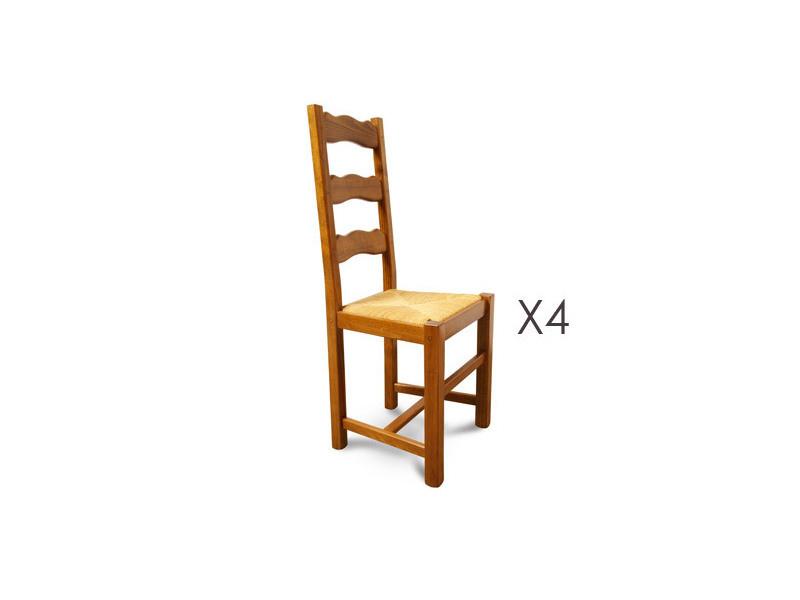 Lot De 4 Chaises Hetre Assise Paille Teinte Chene Dore