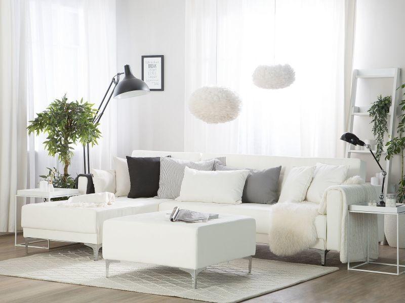 Canapé angle droite convertible simili-cuir blanc avec pouf 4 places aberdeen 150478