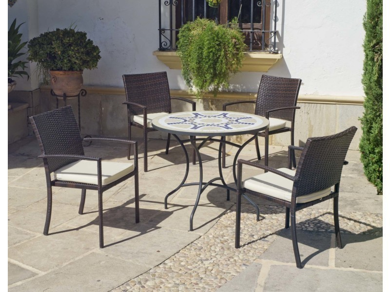 Salon de jardin mosaïque style provence avinon vigo - Vente de HEVEA ...