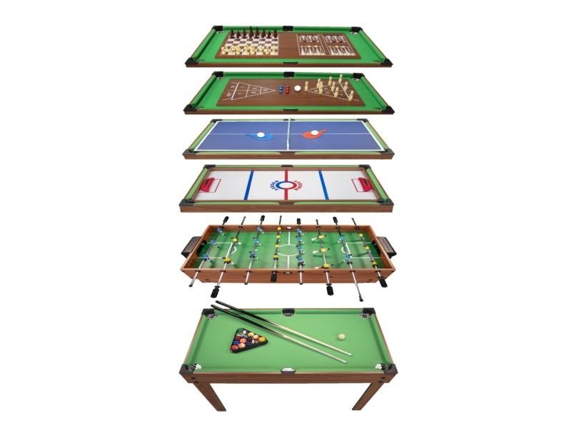 Table multi jeux 20 en 1 sur pied, table de jeux multifonction avec plateaux modulables et accessoires pour 20 jeux différents, 122 x 61 x 84 cm