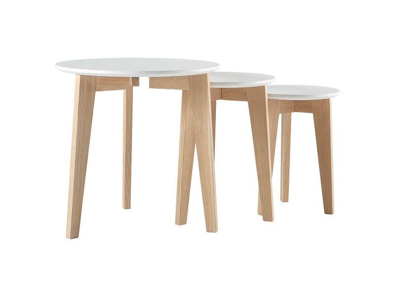 Tables gigognes design laquées mat et bois naturel - lot de 3 largo