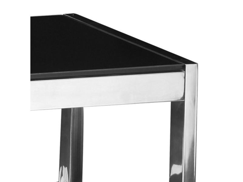 Meuble tv en verre noir karel l 110 x l 39 5 x h 55 for Meuble h 110
