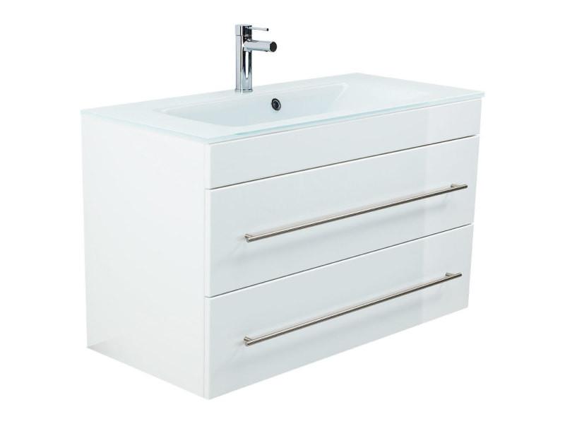 Meuble salle de bain vitro 1000 avec vasque en verre en blanc ...
