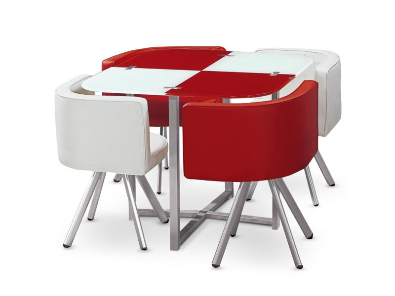 Table et chaises mosaic 90 blanc et rouge vente de - Table rouge conforama ...