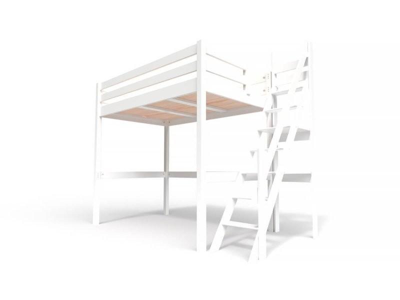 Lit mezzanine sylvia avec escalier de meunier bois 120x200 blanc 1120-LB