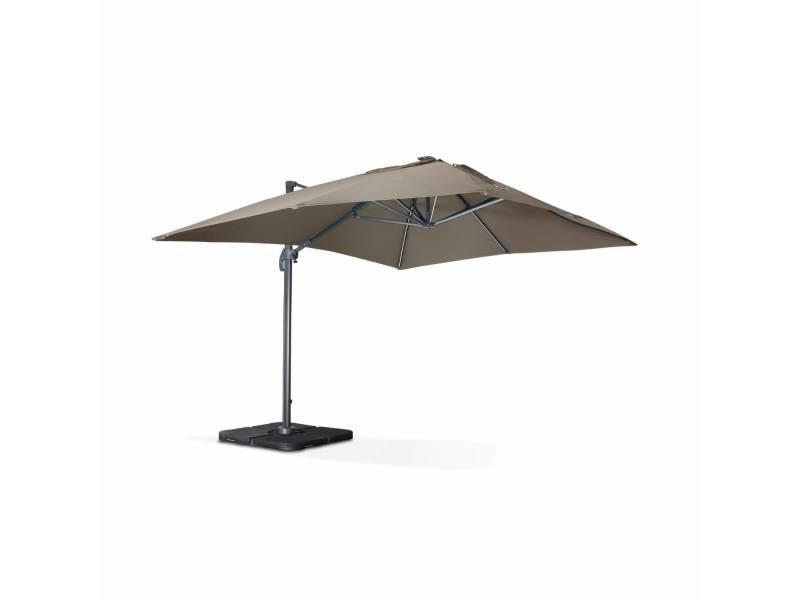 Parasol déporté solaire led rectangulaire 3 x 4 m haut de gamme - luce taupe - parasol excentré inclinable, rabattable et rotatif à 360°, chargeur solaire