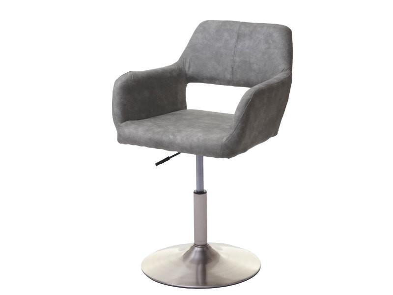 Chaise de salle à manger hwc-a50 iii, style rétro années 50, tissu ~ gris clair vintage, pied en métal brossé