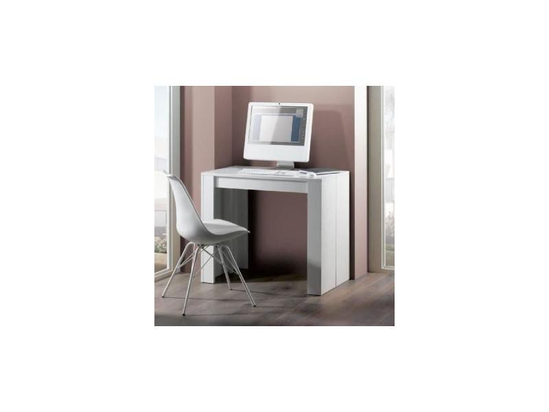 table console extensible bois blanc avec 5 rallonges. Black Bedroom Furniture Sets. Home Design Ideas