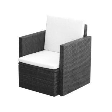 Vidaxl chaise de jardin et coussins et oreillers résine tressée noir ...