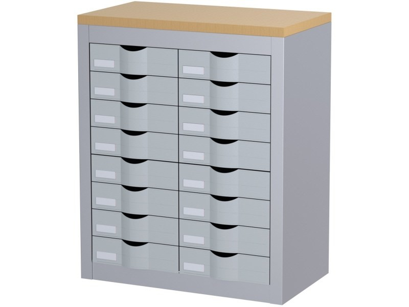 Module de bureau 2 colonnes 16 tiroirs