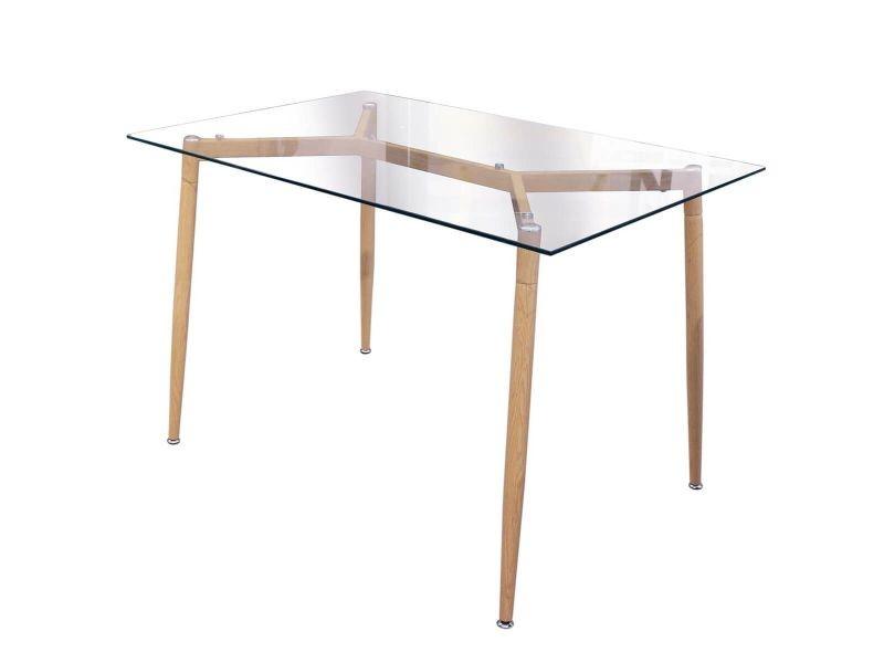 Verana - table repas rectangulaire plateau en verre