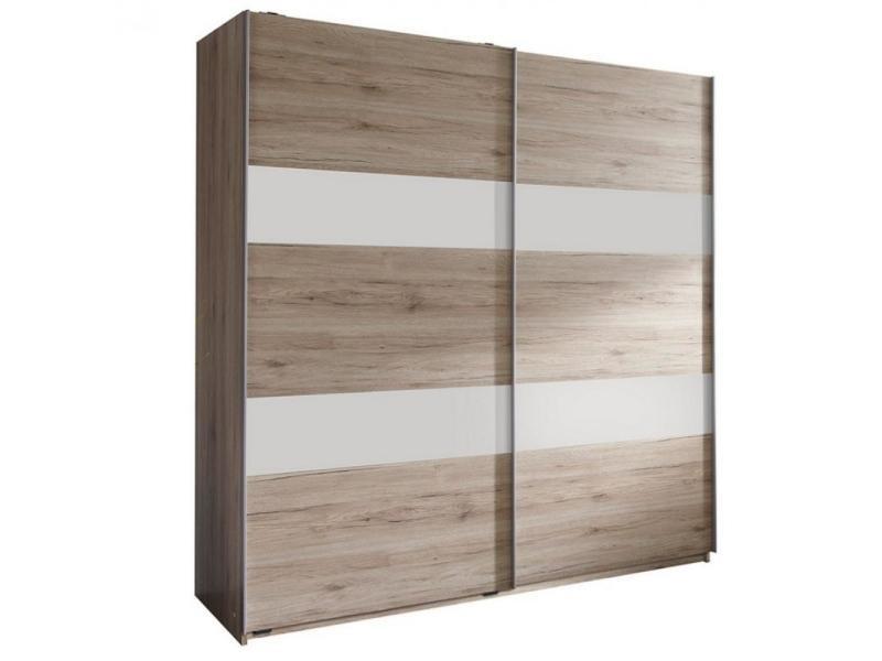 Armoire de rangement aude portes coulissantes 179 cm chêne rechampis blanc 20100890996