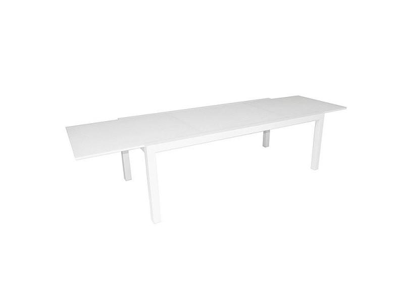 Table alu blanc verre blanc 220/330x106 cm murray