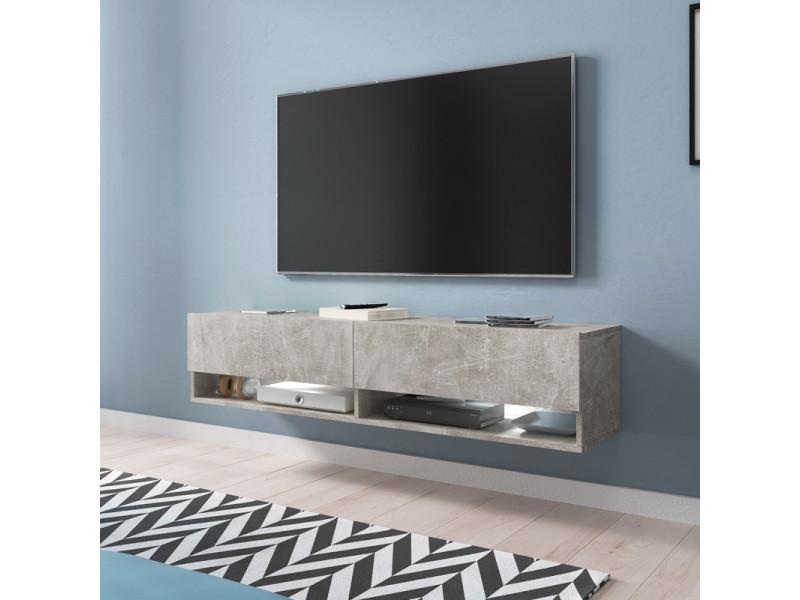 Meuble tv - WANDER - 140 cm - béton - LED