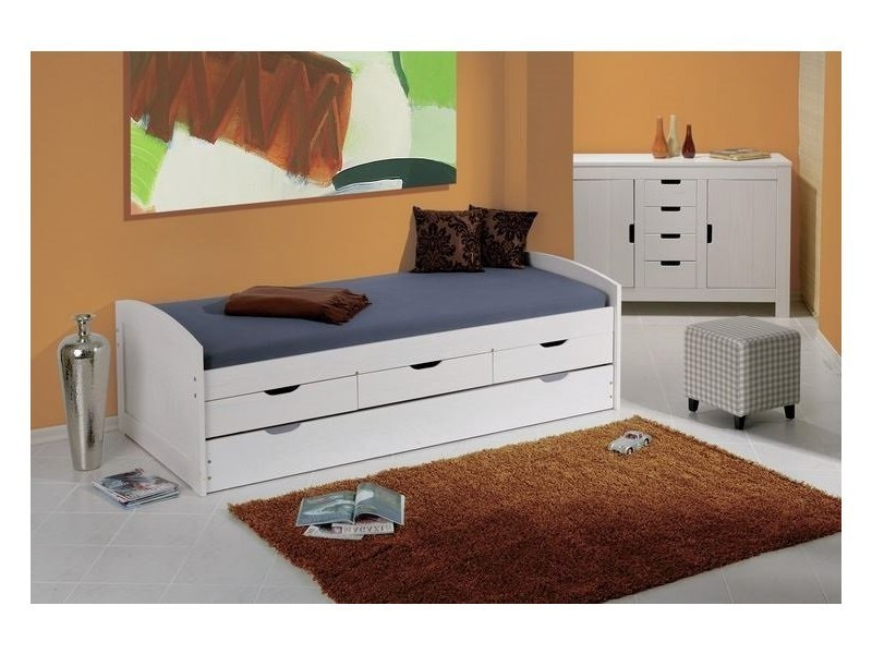 lit gigogne ulli en pin massif blanc couchage 90 x 190 cm et 3 tiroirs 20100837321 conforama. Black Bedroom Furniture Sets. Home Design Ideas