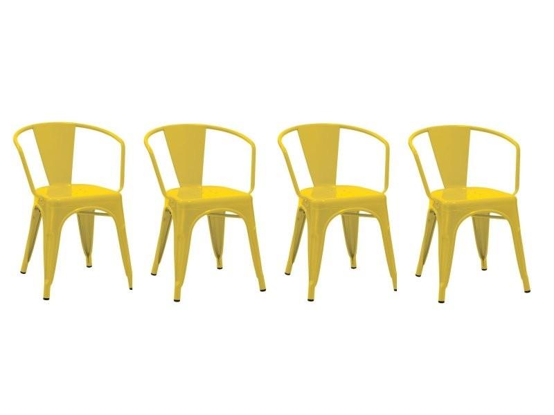 Set De 4 Chaises Salle Manger Cuisine Style Industriel Mtal Jaune Cds09147