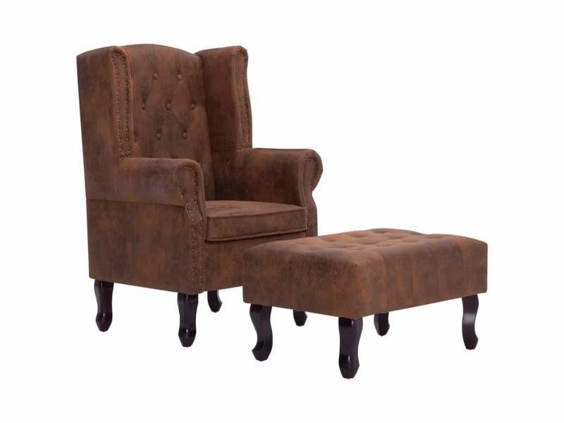Fauteuil chaise siège lounge design club sofa salon chesterfield et repose-pieds marron similicuir daim helloshop26 1102228/3
