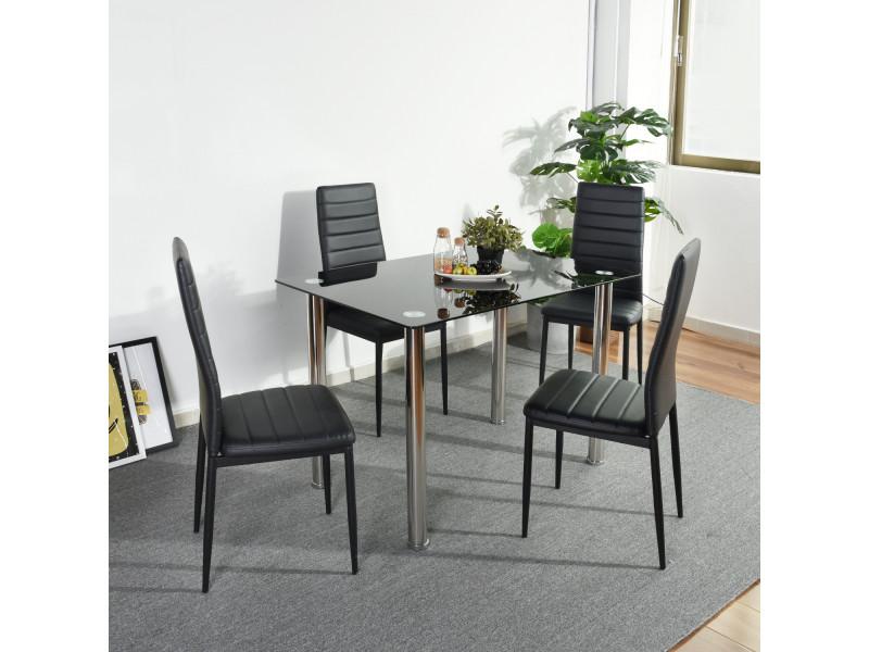 Ensemble Table Et Lot De 4 Chaises De Salle A Manger Noir Vente De Urban Meuble Conforama
