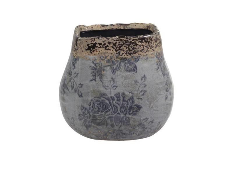 Pot décoratif motifs floraux vase pot à crayons broc en terre cuite emaillée dans les tons bleus 9x9,5x9,5cm