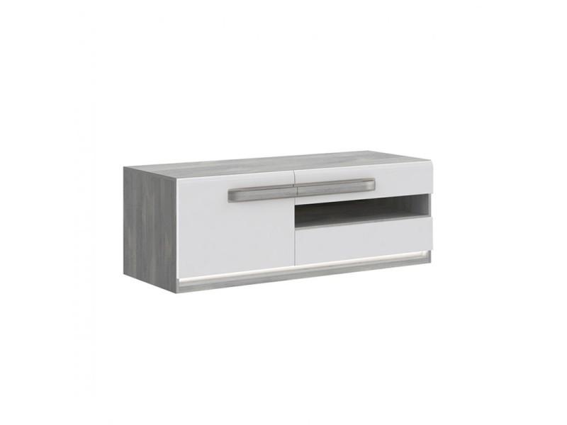 Meuble tv blanc laqué et décor chêne gris - alexiane