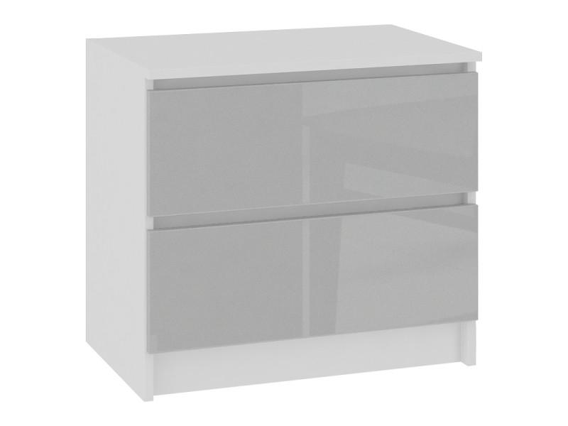 Skandi - table de chevet contemporain chambre 60x55x40 cm - 2 tiroirs larges - design moderne&robuste - table d'appoint - blanc/gris clair laqué