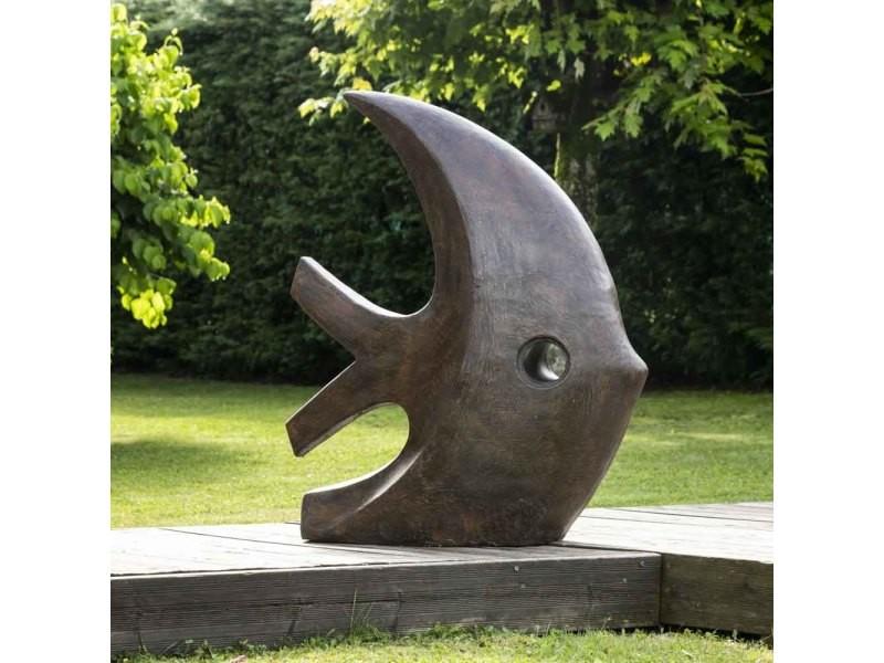 Grande sculpture moderne poisson 100 cm brun 21112