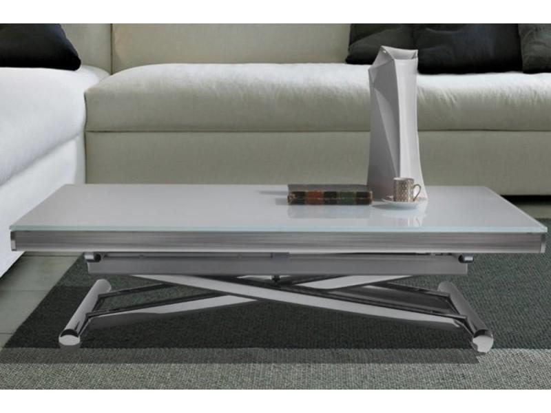 Table basse relevable extensible happening blanc avec piétement chromé 20100850742