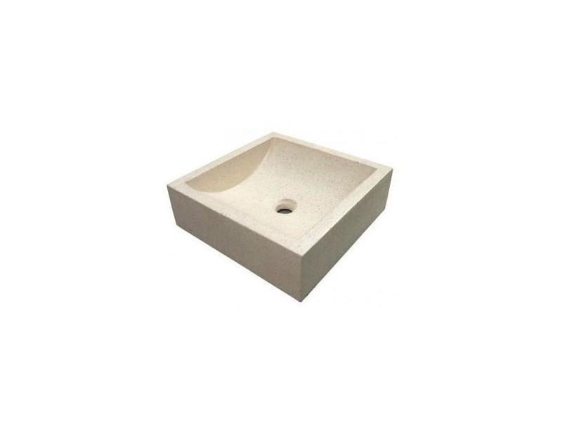 Aqua+ - vasque carré en terrazzo 42x42cm crème - kiara