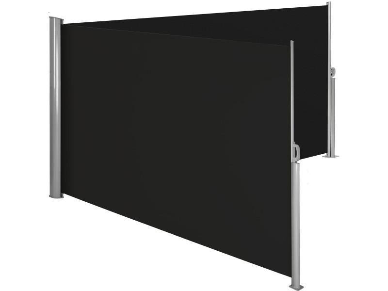 Tectake paravent rétractable double - 200 x 600 cm - noir 402338