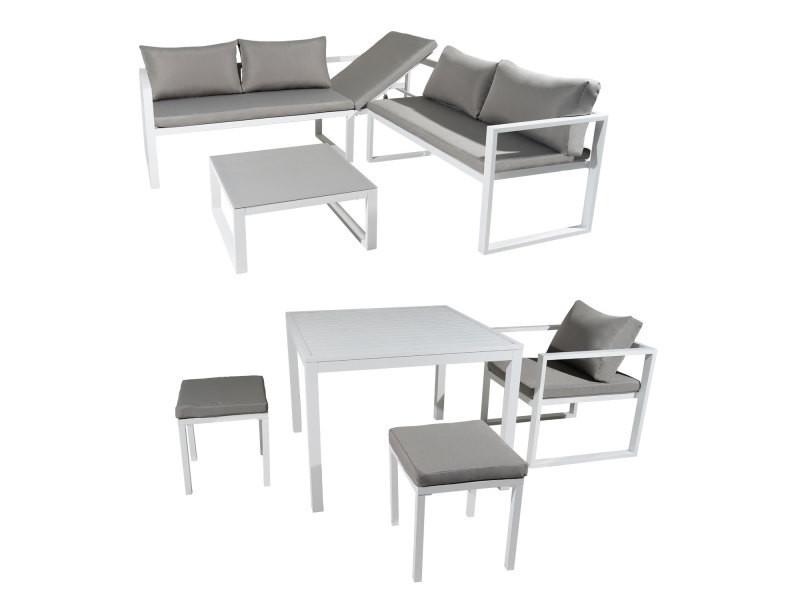 Salon de jardin modulable ibiza en tissu gris 7 places ...