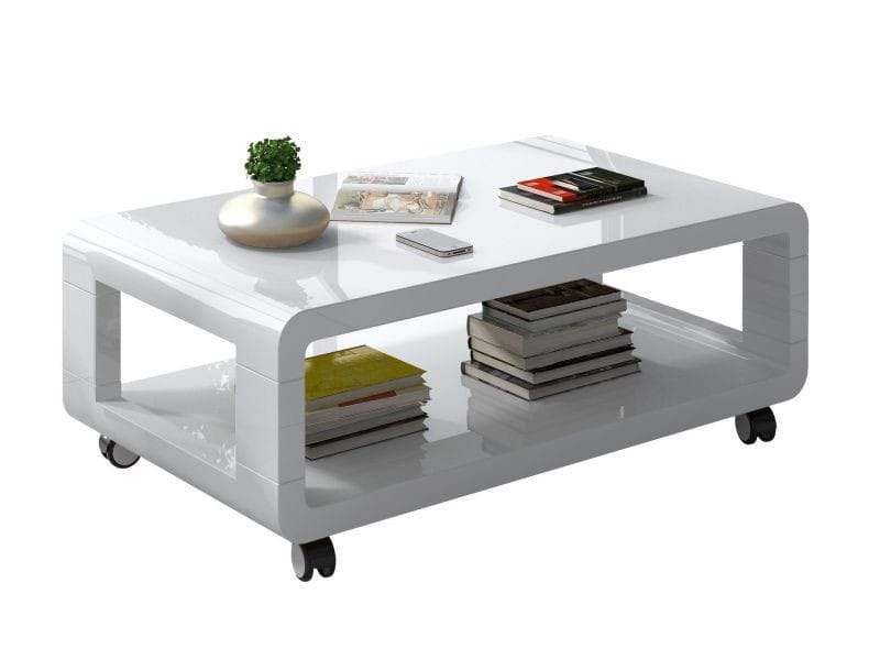 table basse roulette coloris blanc laqu vente de comforium conforama - Table Basse Sur Roulette