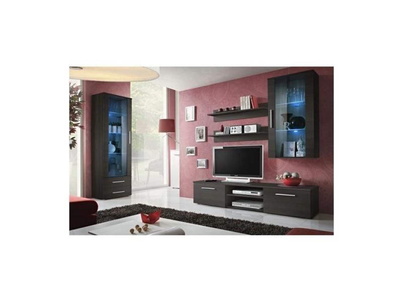 Ensemble meuble tv mural - galino f - 250 cm x 190 cm x 45 cm - wengé