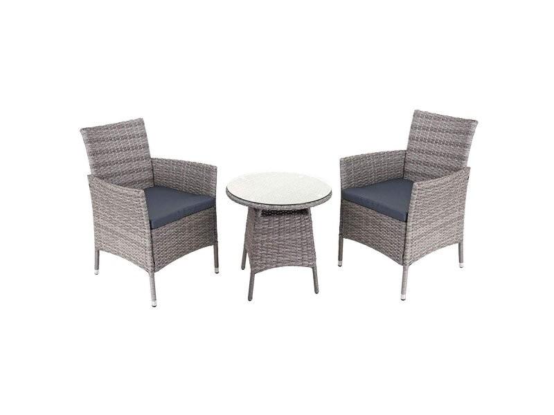 Salon de jardin avec fauteuils et table en poly-rotin gris ...