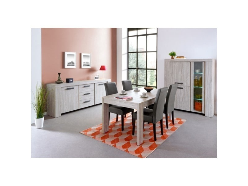 Affordable interesting salle manger complte gris cendr for Table salle a manger extensible conforama