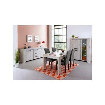 Salle à manger complète gris cendré - jacco - l 160 x l 92 x h 75 ...