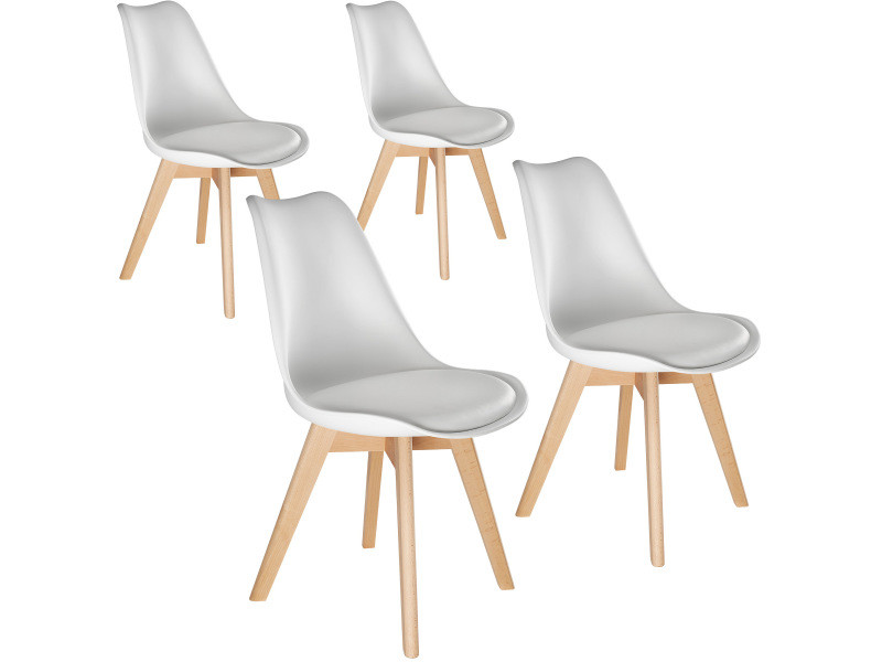 Tectake 4 chaises de salle à manger frédérique style scandinave pieds en bois massif design moderne - blanc 403813