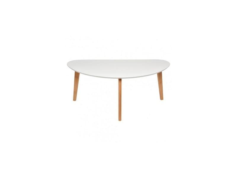 Table Basse Ovale Blanche Et Bois Oaky Pm Vente De La Chaise