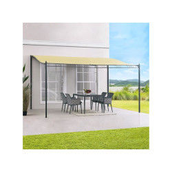 Auvent pergola adossé pour terrasse gm 3 x 4 m avec toile écrue