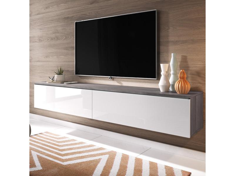Meuble tv - kane - 180 cm - bodega / blanc brillant