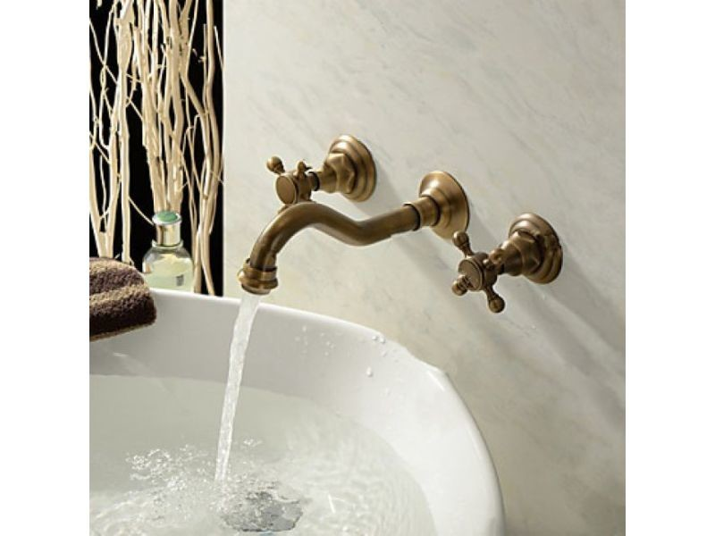 Robinet salle de bain mural à double poignée, robinet de style ...
