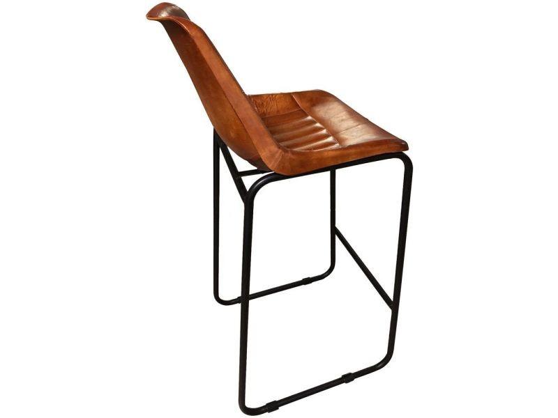 d025f50bc6e63 Aubry gaspard - tabouret de bar en cuir marron et pieds en métal. prevnext