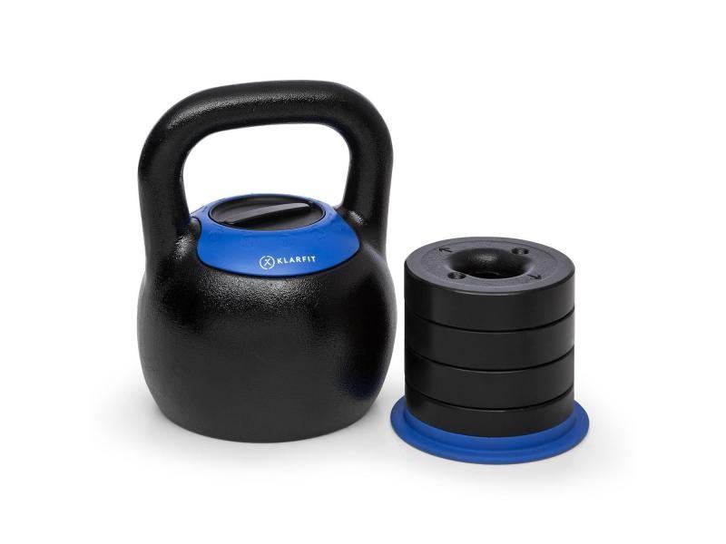 Klarfit adjustabell kettlebell réglable poids de 16 18 20 22 24 kg - noir& bleu FITN14-adj.Ket.16-24