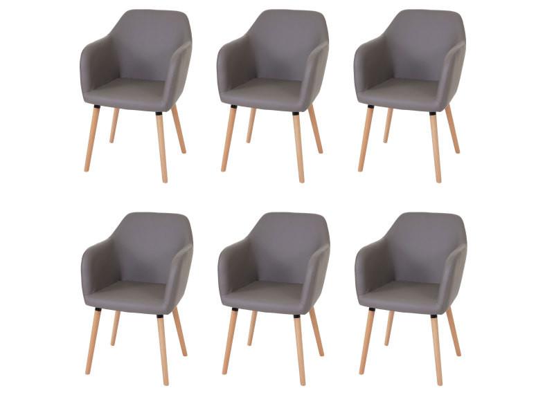 6x chaise de séjour / salle à manger malmö t381 style rétro des années 50 ~ similicuir, taupe